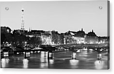 Acrylic Print featuring the photograph Left Bank At Night / Paris by Barry O Carroll