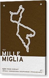 Legendary Races - 1927 Mille Miglia Acrylic Print by Chungkong Art