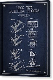 Lego Toy Building Blocks Patent - Navy Blue Acrylic Print by Aged Pixel