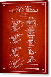 Lego Toy Building Blocks Patent - Red Acrylic Print by Aged Pixel