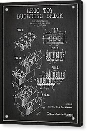 Lego Toy Building Brick Patent - Dark Acrylic Print by Aged Pixel