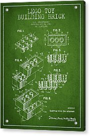 Lego Toy Building Brick Patent - Green Acrylic Print by Aged Pixel