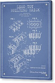 Lego Toy Building Brick Patent - Light Blue Acrylic Print by Aged Pixel