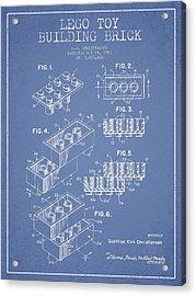 Lego Toy Building Brick Patent - Light Blue Acrylic Print