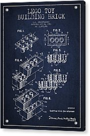 Lego Toy Building Brick Patent - Navy Blue Acrylic Print by Aged Pixel