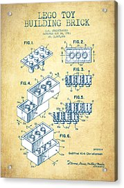 Lego Toy Building Brick Patent - Vintage Paper Acrylic Print