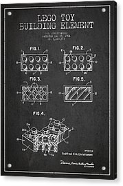 Lego Toy Building Element Patent - Dark Acrylic Print by Aged Pixel
