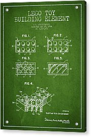 Lego Toy Building Element Patent - Green Acrylic Print by Aged Pixel
