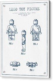 Lego Toy Figure Patent - Blue Ink Acrylic Print