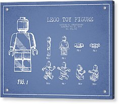 Lego Toy Figure Patent Drawing From 1979 - Light Blue Acrylic Print by Aged Pixel