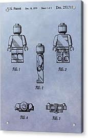 Lego Toy Patent Acrylic Print by Dan Sproul