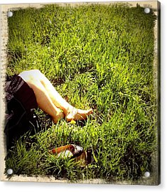Legs Of A Woman And Green Grass Acrylic Print
