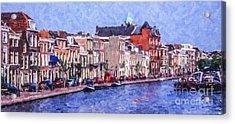 Leiden Canal Acrylic Print by Liz Leyden