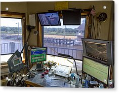Acrylic Print featuring the photograph Leland Bowman Locks Control Room by Gregory Daley  PPSA