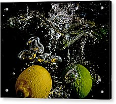 Acrylic Print featuring the digital art Lemon And Lime Splash by John Hoey