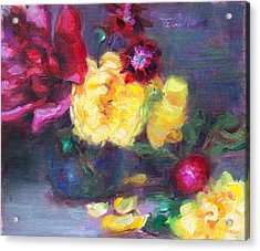Lemon And Magenta - Flowers And Radish Acrylic Print