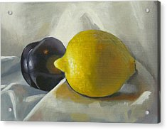 Lemon And Plum Acrylic Print by Peter Orrock