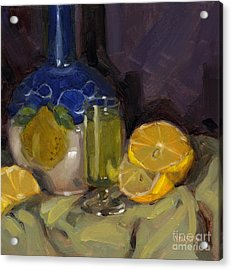 Acrylic Print featuring the painting Lemon Light by Nancy  Parsons