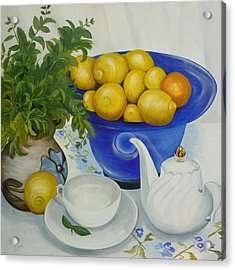 Acrylic Print featuring the painting Lemon Tea by Helen Syron