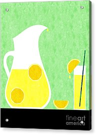 Lemonade And Glass Green Acrylic Print by Andee Design