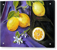 Lemons And Flowers Acrylic Print