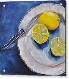 Lemons On A Plate Acrylic Print by Lindsay Frost