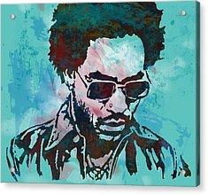 Lenny Kravitz - Stylised Etching Pop Art Poster Acrylic Print by Kim Wang