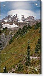Lenticular Cloud Atop Mt Rainier Acrylic Print