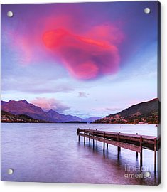 Lenticular Cloud Lake Wakatipu Queenstown New Zealand Acrylic Print by Colin and Linda McKie