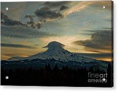 Lenticular Sunset On Mount Hood Acrylic Print by Cari Gesch