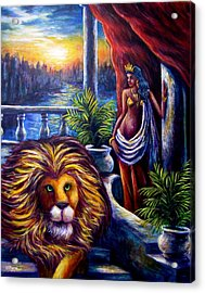 Leo And The Virgin Acrylic Print by Sebastian Pierre