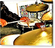 Leo Drumming Acrylic Print by Cleaster Cotton