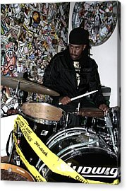 Leo Fierce On Drums Acrylic Print by Cleaster Cotton