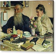 Leo Tolstoy With His Wife In Yasnaya Polyana Acrylic Print by Ilya Efimovich Repin