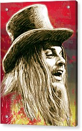 Leon Russell - Stylised Drawing Art Poster Acrylic Print
