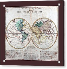 Leonhard Euler World Map 1760 Ad With Matching Grey Burgundy Small Border Acrylic Print by L Brown