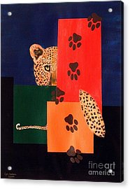 Leopard And Paws Acrylic Print by Lynda Cookson
