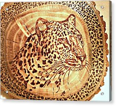Leopard Acrylic Print by Art  Pyrography