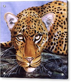 Acrylic Print featuring the painting Leopard In A Tree by Thomas J Herring