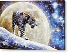 Acrylic Print featuring the painting Leopard Moon by Greg Collins