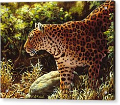 Leopard Painting - On The Prowl Acrylic Print by Crista Forest