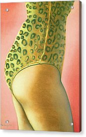 Acrylic Print featuring the pastel Leopard Suit by Mary Ann  Leitch