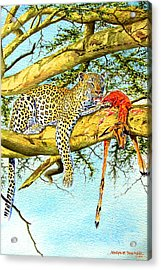 Leopard With A Kill Acrylic Print