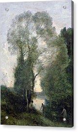 Les Baigneuses Acrylic Print by Jean Baptiste Camille Corot