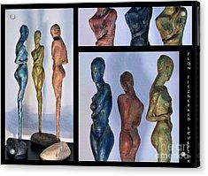 Les Filles De L'asse 1 Triptic Collage Acrylic Print by Flow Fitzgerald