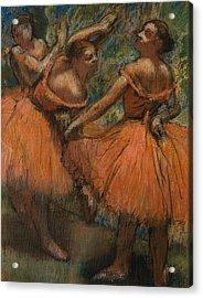 Les Jupes Rouge Acrylic Print by Edgar Degas