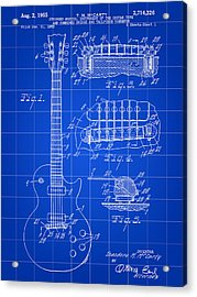 Les Paul Guitar Patent 1953 - Blue Acrylic Print by Stephen Younts