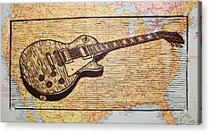 Les Paul On Usa Map Acrylic Print by William Cauthern
