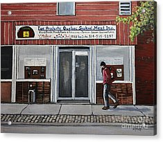 Les Produits Quebec Smoked Meat Inc Acrylic Print by Reb Frost