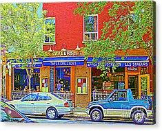 Les Saveurs Tapas Grillades Apportez Votre Vin Montreal Cafe Art Scene By Carole Spandau Acrylic Print by Carole Spandau